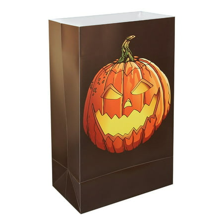 Pack of 12 Halloween Weather Resistant Festive Jack O'Lantern Luminaria Bags 10