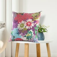 LR Home Floral Garden Kantha Handmade Multi-color 20 inch Square Throw Pillow