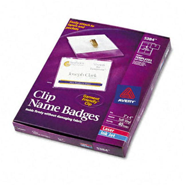 avery 5384 clip style badge holders top load 3 x 4 white 48 inserts