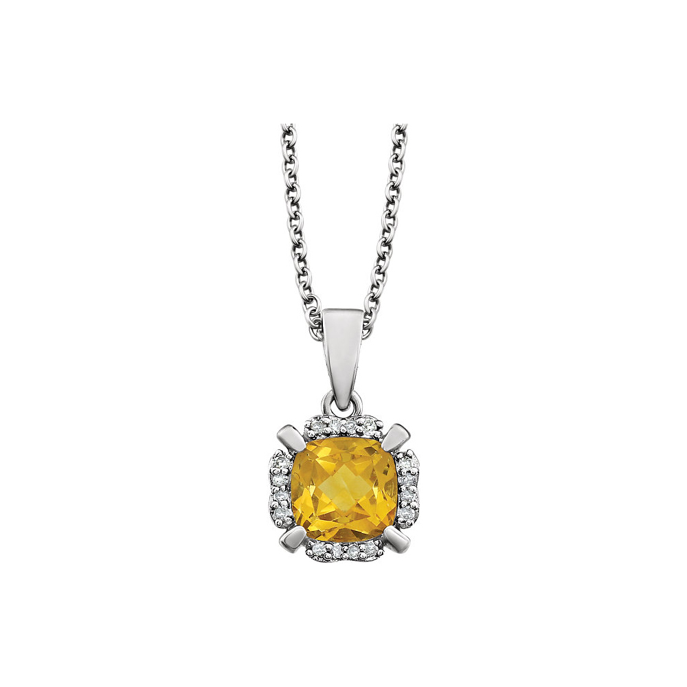 Cushion Citrine & Diamond Necklace in 14k White Gold, 18 Inch by Black Bow Jewelry Company