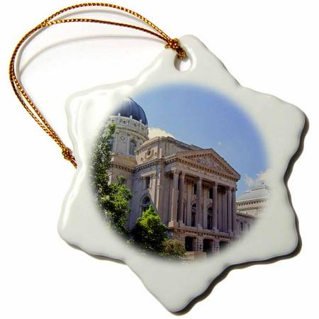 3dRose Indiana, Indianapolis. Capitol building, Senate St - US15 AMI0032 - Anna Miller, Snowflake Ornament, Porcelain, 3-inch
