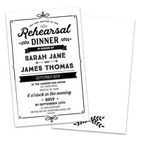 Black and White Text Personalized Rehearsal Dinner Invitations