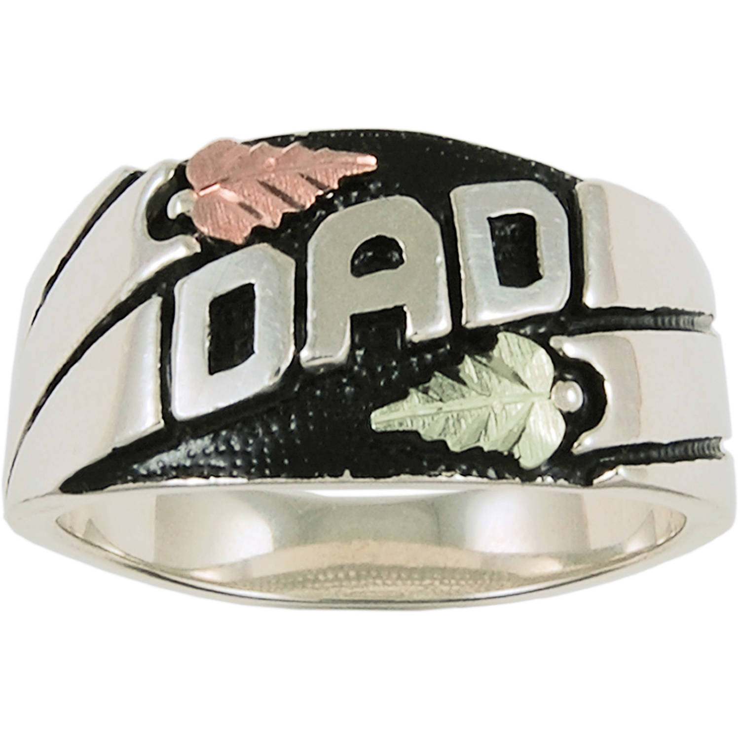 "Black Hills Gold Men's Sterling Silver 12kt Leaf Accented Antiqued ""DAD"" Ring"