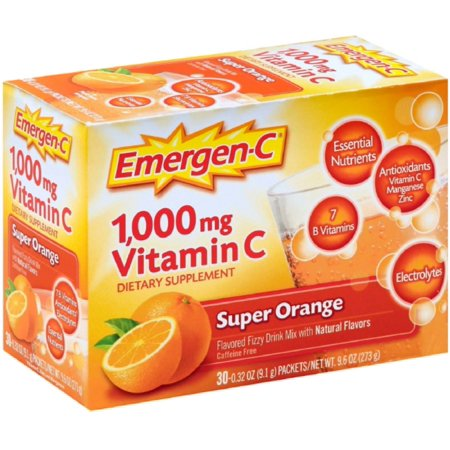 4 Pack - Emergen-C La vitamine C Flavored Drink Mix Fizzy Packets, Super Orange 30 ch