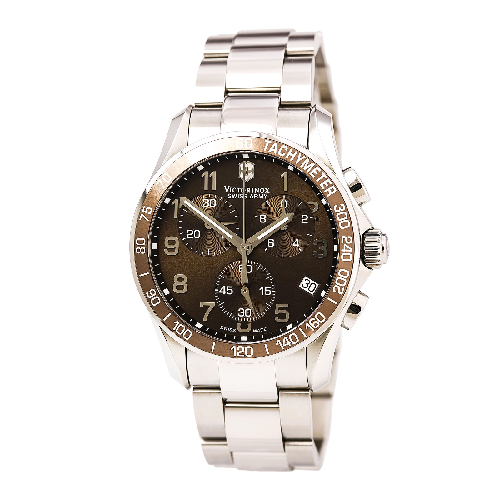 Swiss Army 249011 Men's Chrono Classic Brown Dial Stainless Steel Bracelet Watch
