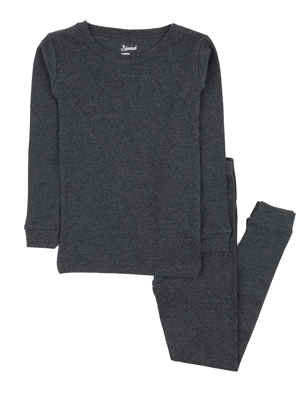Leveret Kids Pajamas Boys & Girls Solid Dark Grey 2 Piece Pajama Set 100% Cotton Size 2 Years