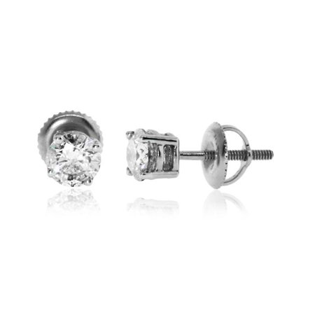 Diamond White Round Brilliant cut Prong Setting solitaire Women's Stud Earrings in 14K Gold Brilliant Diamond Setting 4 Prong
