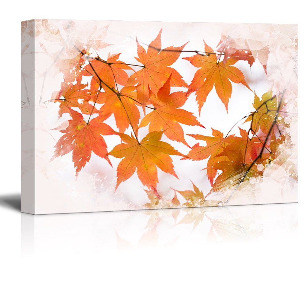 wall26 - Canvas Print Landscape Wall Art - Red Maple Tree in Autumn - Gallery Wrap Modern Home Decor | Ready to Hang -32x48 inches