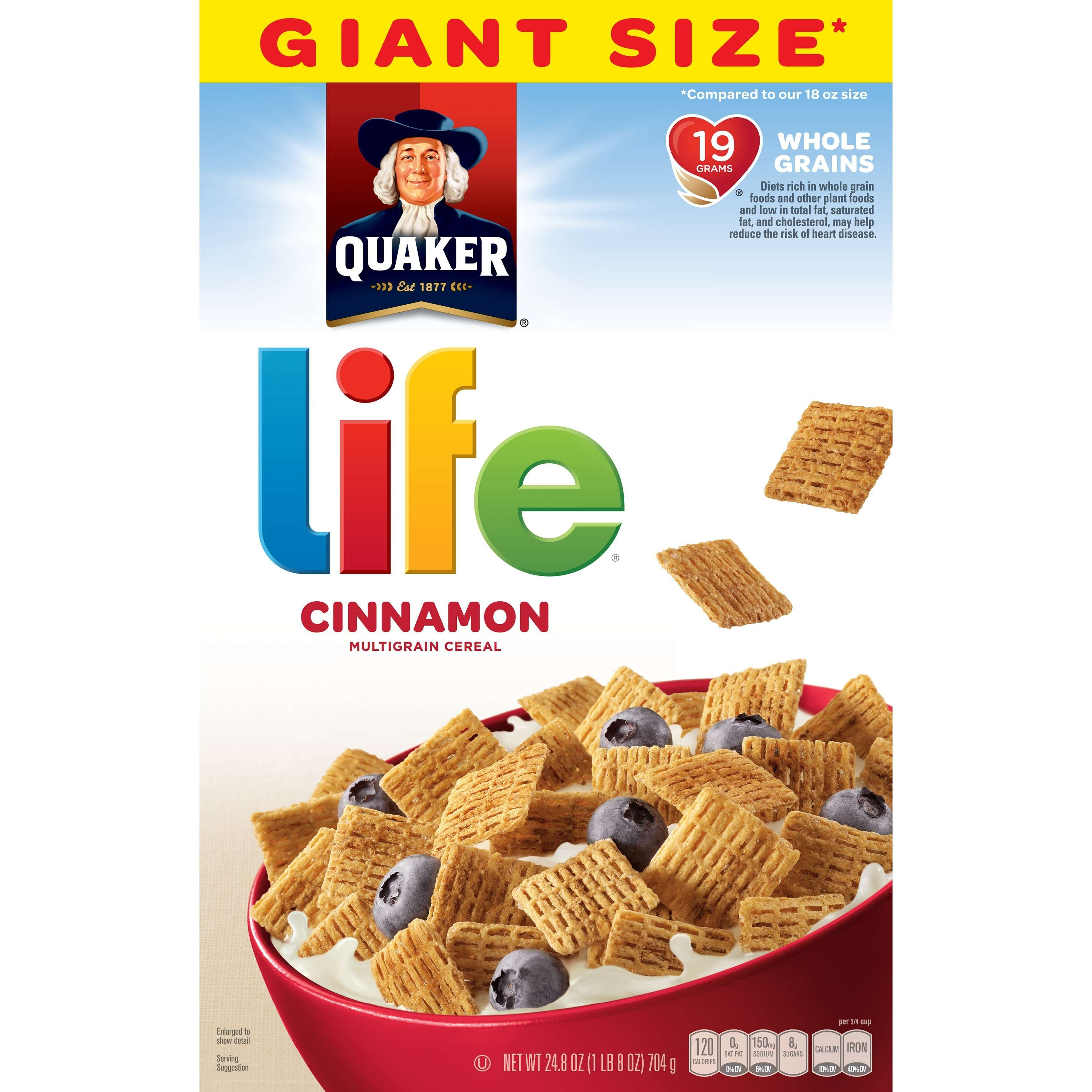 Quaker Life Multigrain Breakfast Cereal, Cinnamon, 24.8 oz Box