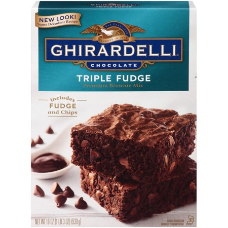 (2 pack) Ghirardelli Chocolate Triple Fudge Brownie Mix, 19 oz Box