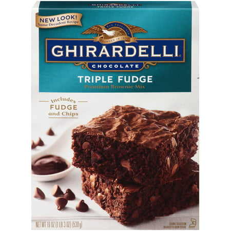 (2 pack) Ghirardelli Chocolate Triple Fudge Brownie Mix, 19 oz Box - Halloween Chocolate Brownies