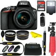 Nikon D3500 24.2MP DSLR Camera + AF-P DX 18-55mm VR NIKKOR Lens Kit + Accessory Bundle 64GB SDXC Memory + Camera Case+ Wide Angle Lens + 2.2x Telephoto Lens + Flash +Remote +Tripod +Filters (Black