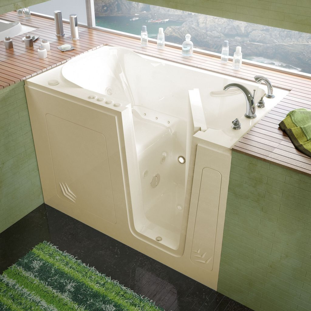 Meditub 30x54 Right Drain Biscuit Whirlpool & Air Jetted Walk-In Bathtub