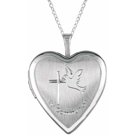 Sterling Silver Heart-Shaped with Cross Dove Locket