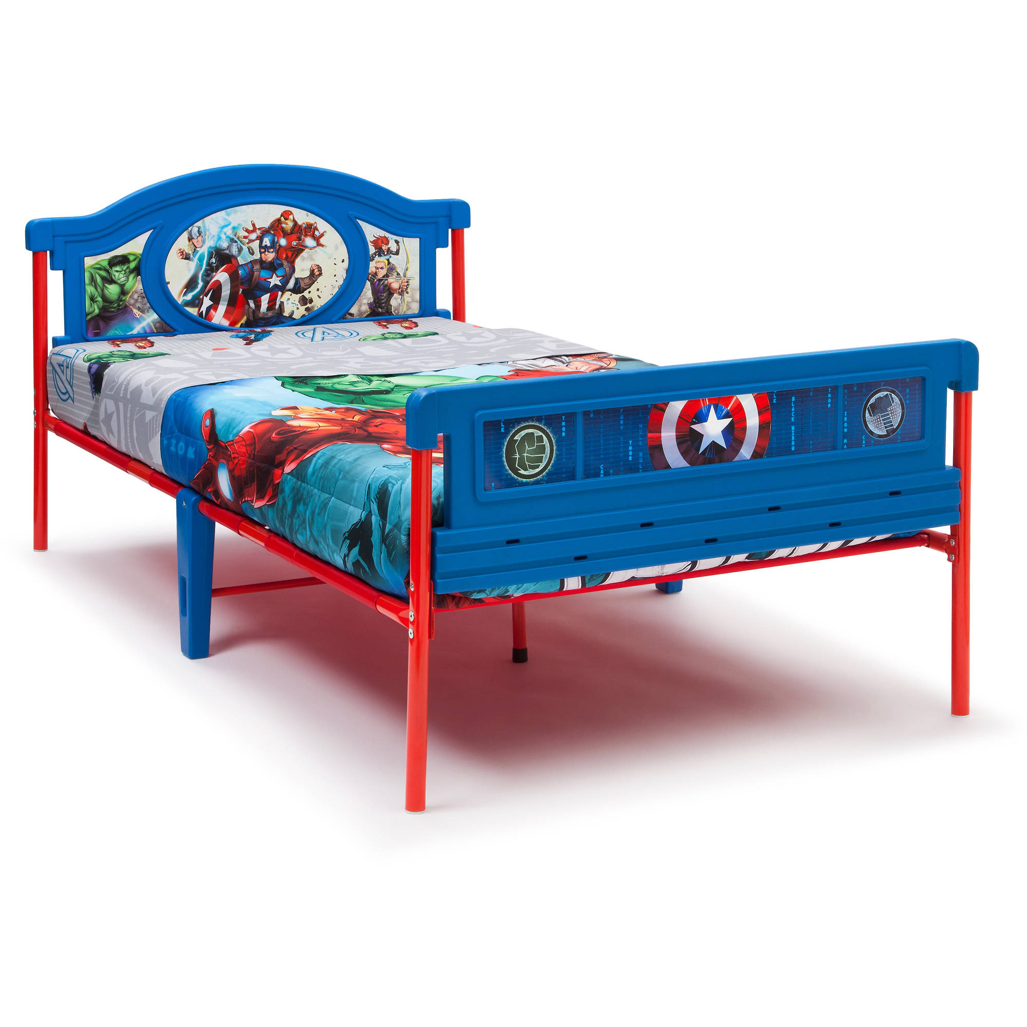 Twin Bed Size Toddler Marvel Super Heroes Colorful Decals Headboard