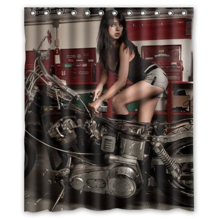 DEYOU Harley Davidson Girl Shower Curtain Polyester Fabric Bathroom Shower Curtain Size 60x72 inches