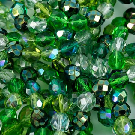 Czech Glass Fire Polish 6mm Round Evergreen Mix (Evergreen Mix)