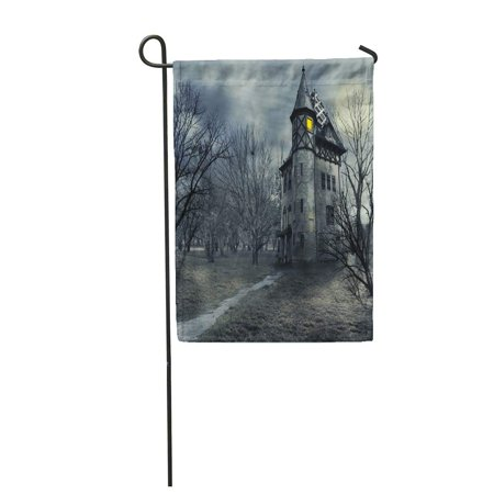 LADDKE Fantasy Halloween Haunted House Horror Castle Garden Flag Decorative Flag House Banner 28x40 inch - Haunted Castles Germany Halloween