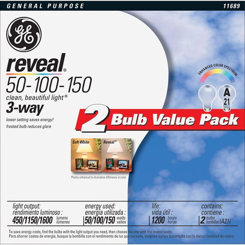 GE Reveal 50/100/150-Watt 3-Way Incandescent A21, 2-Pack