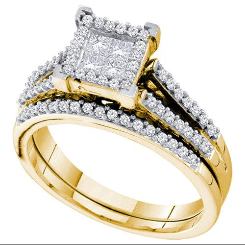 0.50Ctw Diamond Invisible Bridal Set Womens Fixed Ring Size - 7