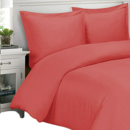 Super Soft 100% Bamboo Viscose Duvet Cover 3-Piece Set - King/California King - Coral ()