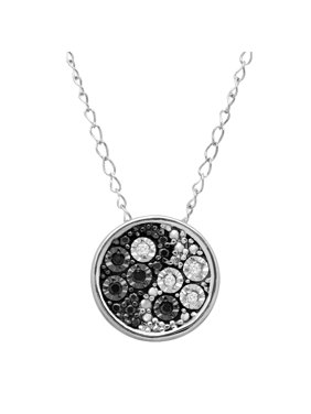 Petite Expressions  Yin & Yang Pendant Necklace with Black & White Diamonds  in Sterling Silver