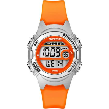 Marathon Women's Digital Mid-Size Watch, Translucent Orange Resin Strap ()