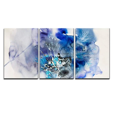 wall26 - 3 Piece Canvas Wall Art - Abstract Painting of Blue Flowers - Modern Home Decor Stretched and Framed Ready to Hang - 16