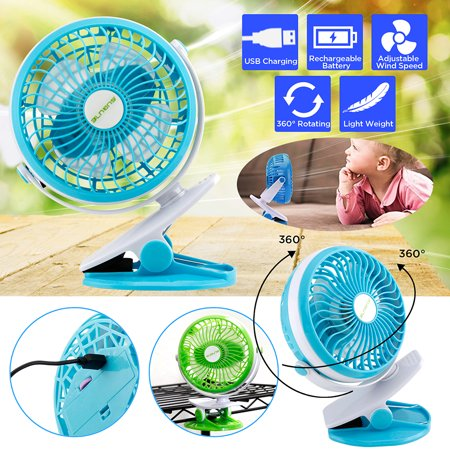 Portable Fan Rechargeable Battery USB Mini Rotation Clip On for Baby Stroller Car Camping - Clip On Fangs