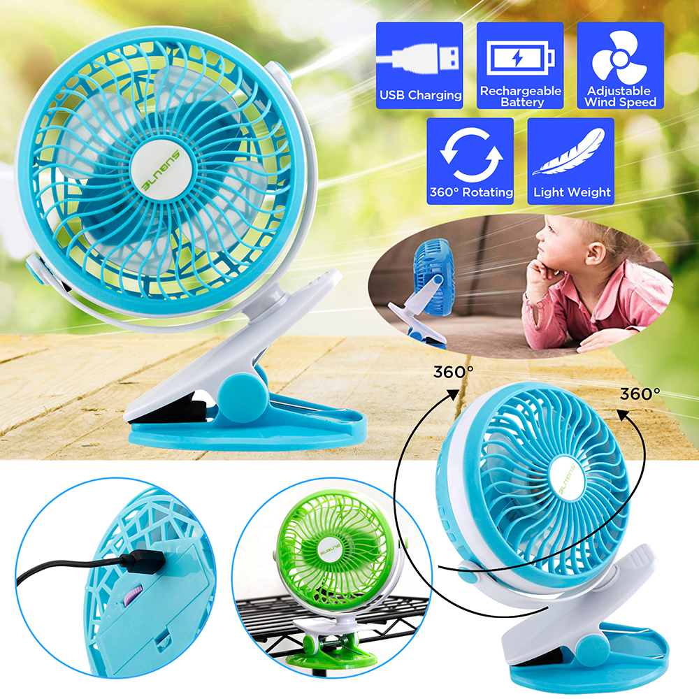 Rechargeable Battery//USB Powered Mini Clip on Fan with 3 Adjustable Speeds Battery Operated Stroller Fan