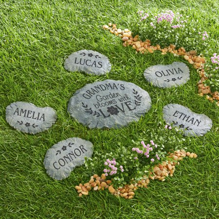 Personalized Blooms with Love Name Garden Stone, Top