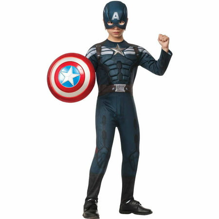 Captain America The Winter Soldier Deluxe Stealth Child Halloween Costume (Kids Captain America)