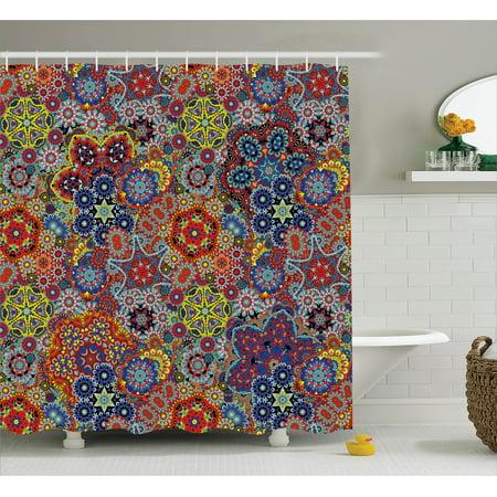 Batik Shower Curtain Vintage Combined Nested Paisley Motif Oriental Feminine Cultural Eastern Theme