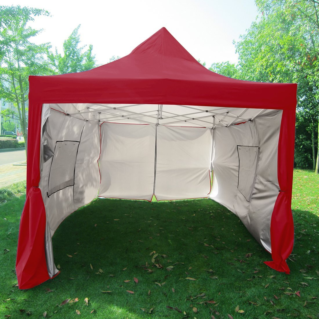 Click here to buy Quictent Privacy 10x15 EZ Pop Up Canopy Party Tent Gazebo 100% Waterproof with Sides and Mesh Windows Beige by ML.