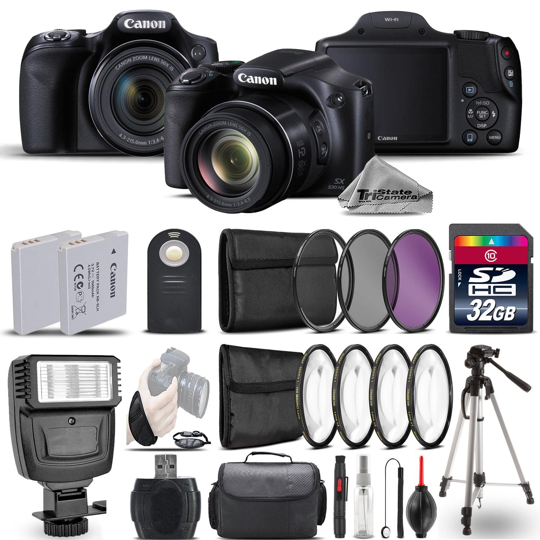 Canon PowerShot SX530 HS Digital Camera+ Flash + 7PC Filter + EXT BAT - 32GB Kit