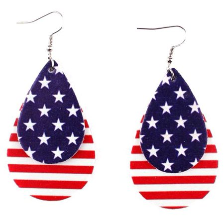 1 Pair 4th of July Independence Day American Flag Cowhide Earrings Large Roll Leaf Leather Earrings