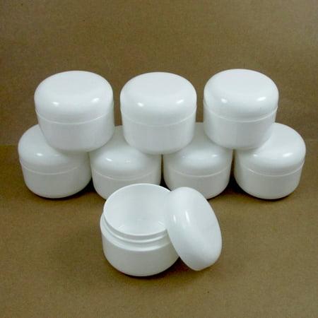 - 8 White 1.7 Oz Plastic Cosmetic Double Wall Cream Empty Dome Jars Container Cap