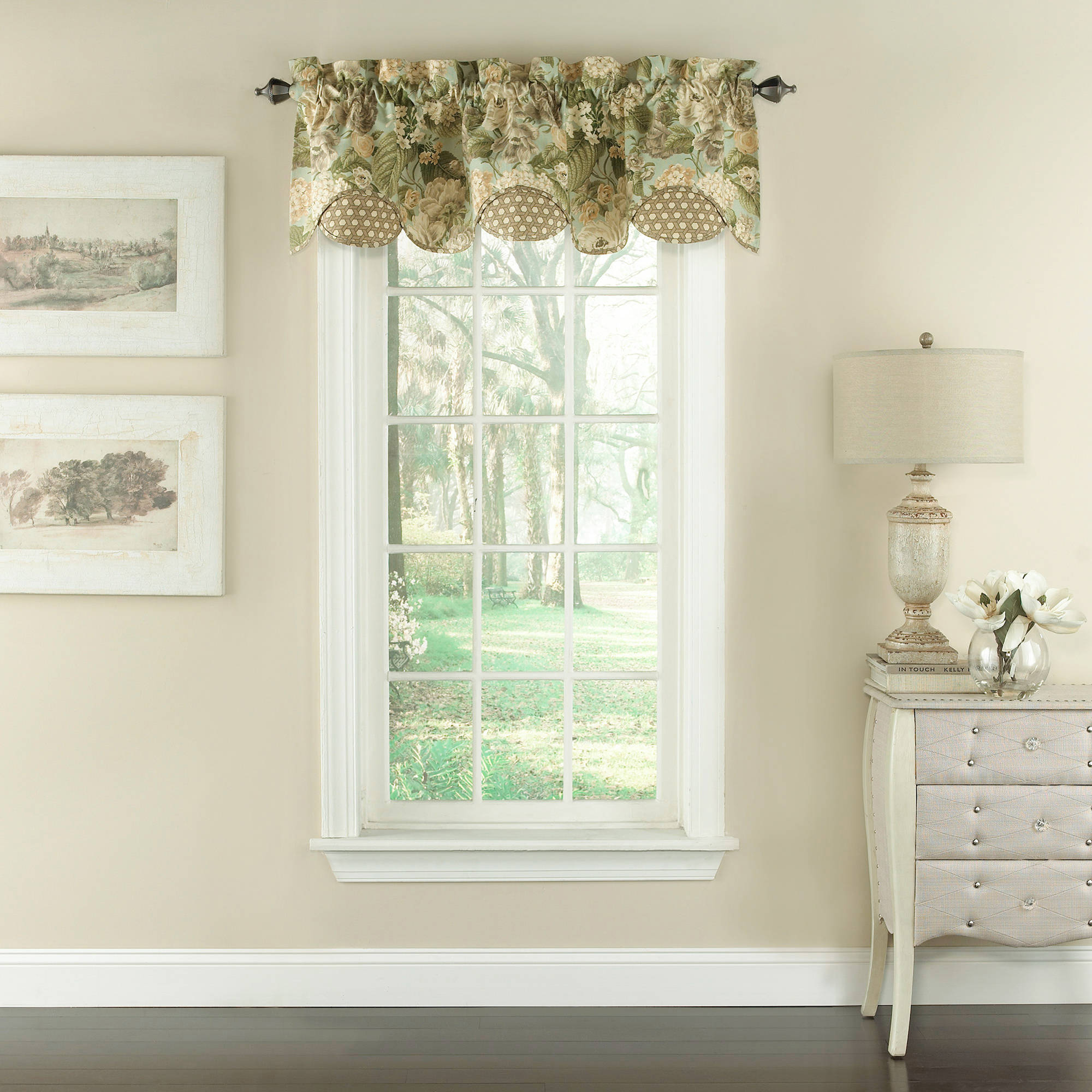 waverly garden glory scalloped floral valance walmart
