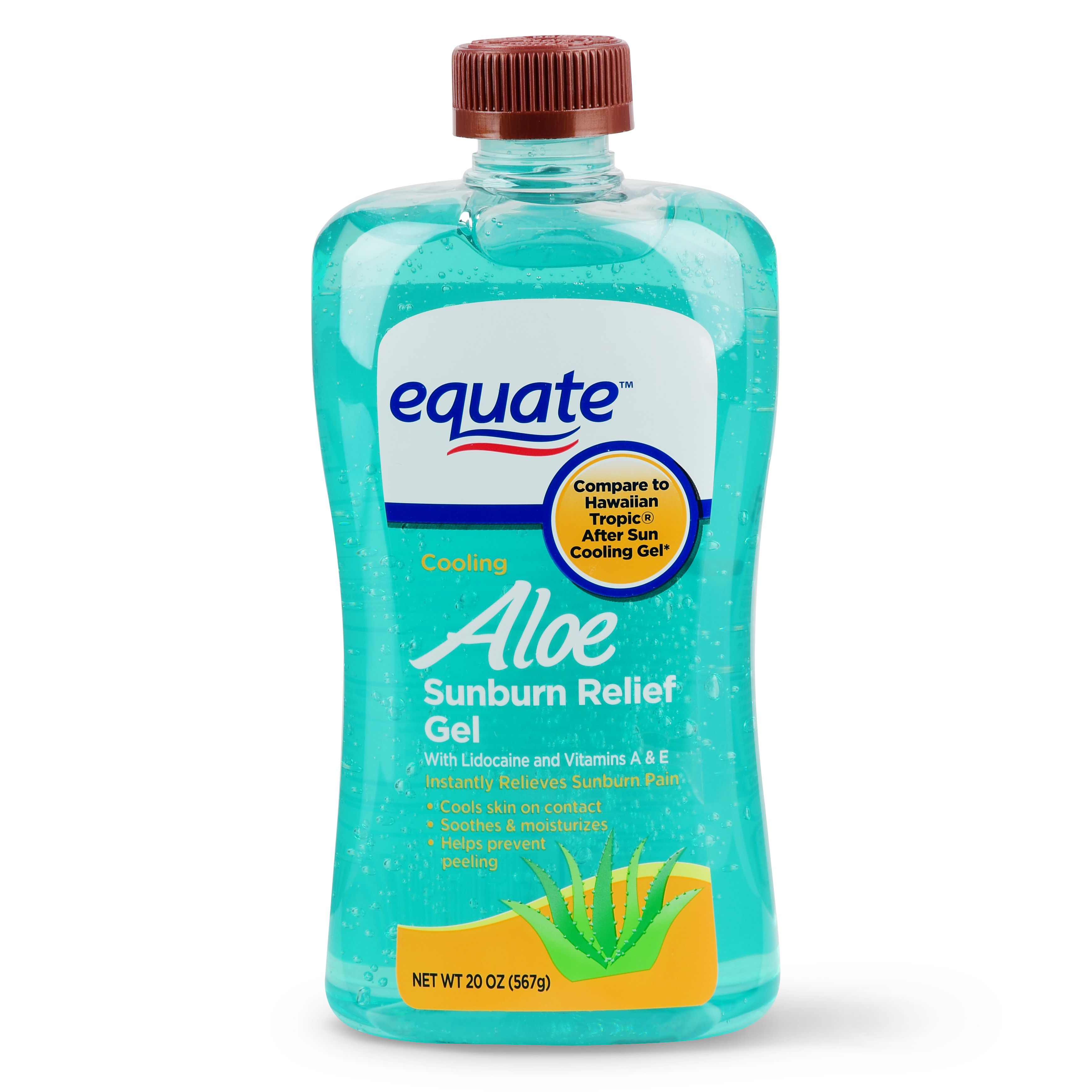 (2 pack) Equate Cooling Aloe Sunburn Relief Gel, 20 oz