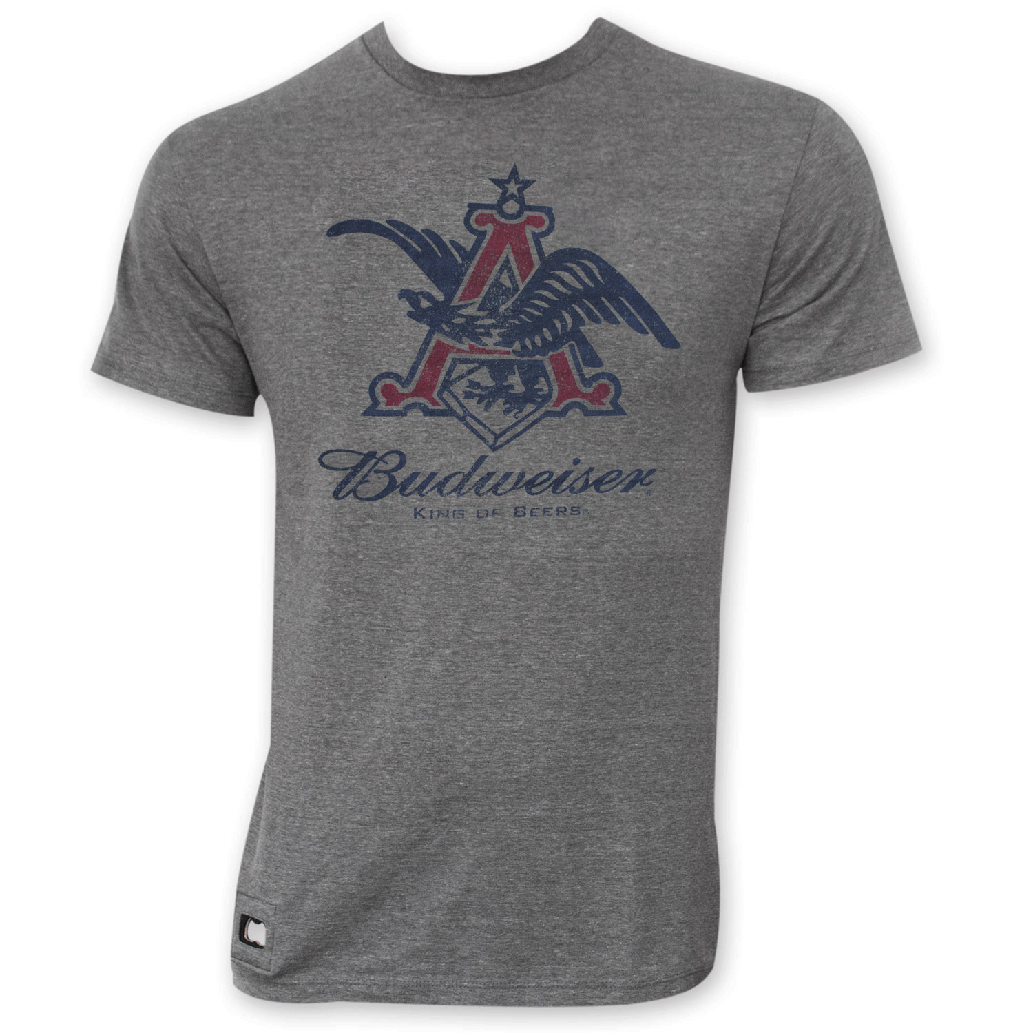 Budweiser Men's Gray Pop Top Vintage Eagle Logo T-Shirt