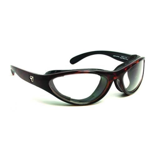 Image of 7 Eye Viento AirShield Sunglasses, Dark Tortoise Frame, SharpView Clear Lens,S-M 1