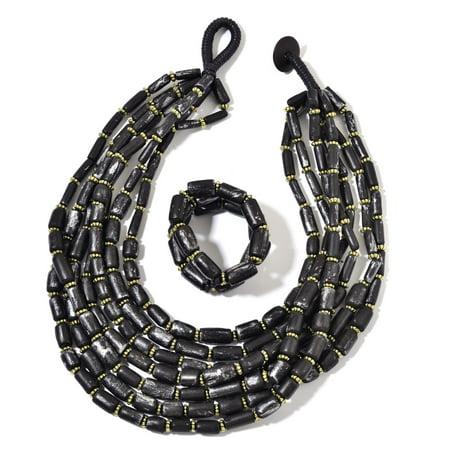 Black Wooden Beads, Chroma Bracelet Stretchable and Multi Strand Fashion Pendant Necklace 24