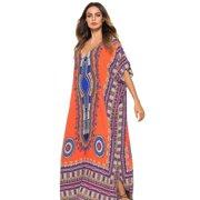 Caftan Dresses for Women V Neck Long Kaftan Cover Up Summer Maxi Dress Plus Size