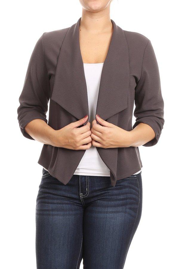 Plus Size Women's Trendy Style Open Front Solid Jacket