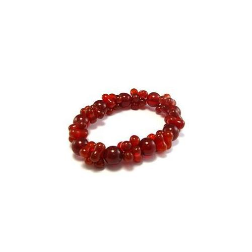 CET Domain 2C070008 Natural Red and Orange Agate Bracelet- 10 mm