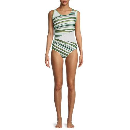 Catherine Malandrino Women's Asymmetrical Mesh One-Piece Swimsuit
