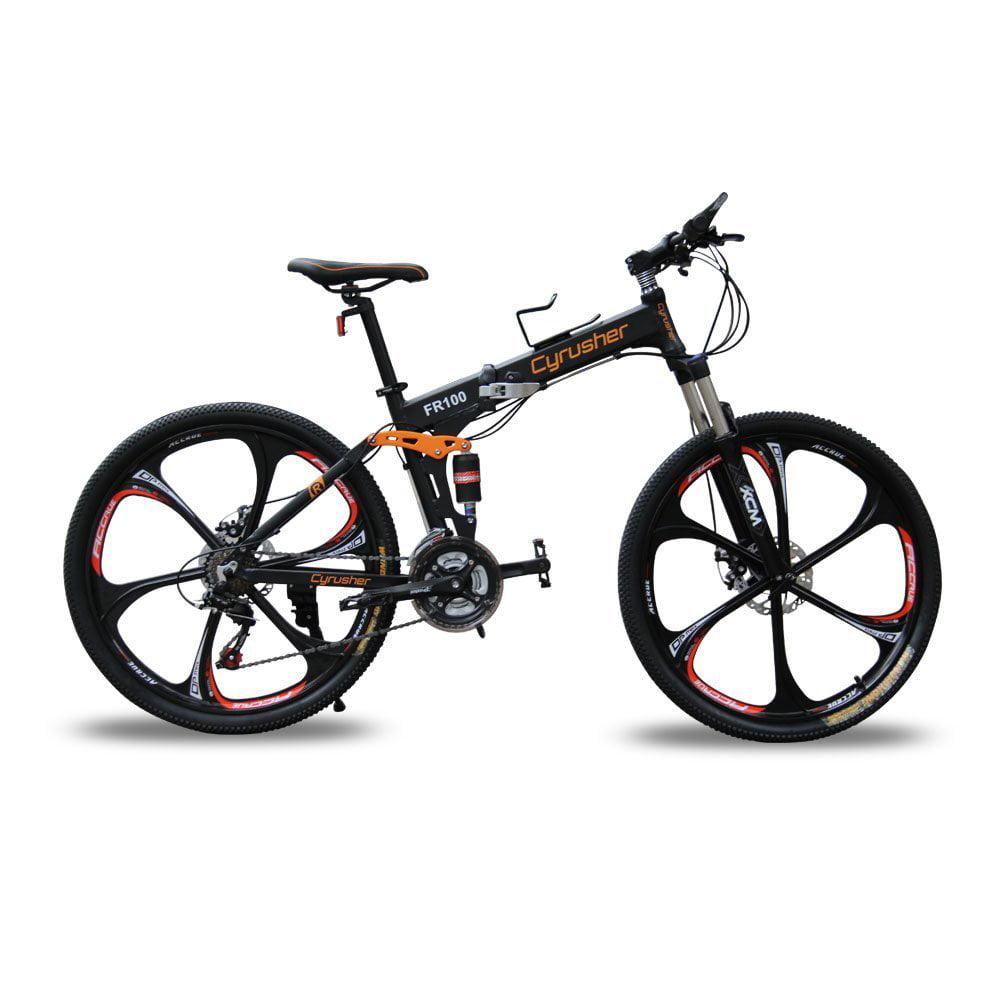 New FR100 Cyrusher Yellow Shimano M310 ALTUS Full Suspenion 24 Speeds Folding Bikes Mountain Bike Bicycle 17 in 26 in... by Jinshenyuan