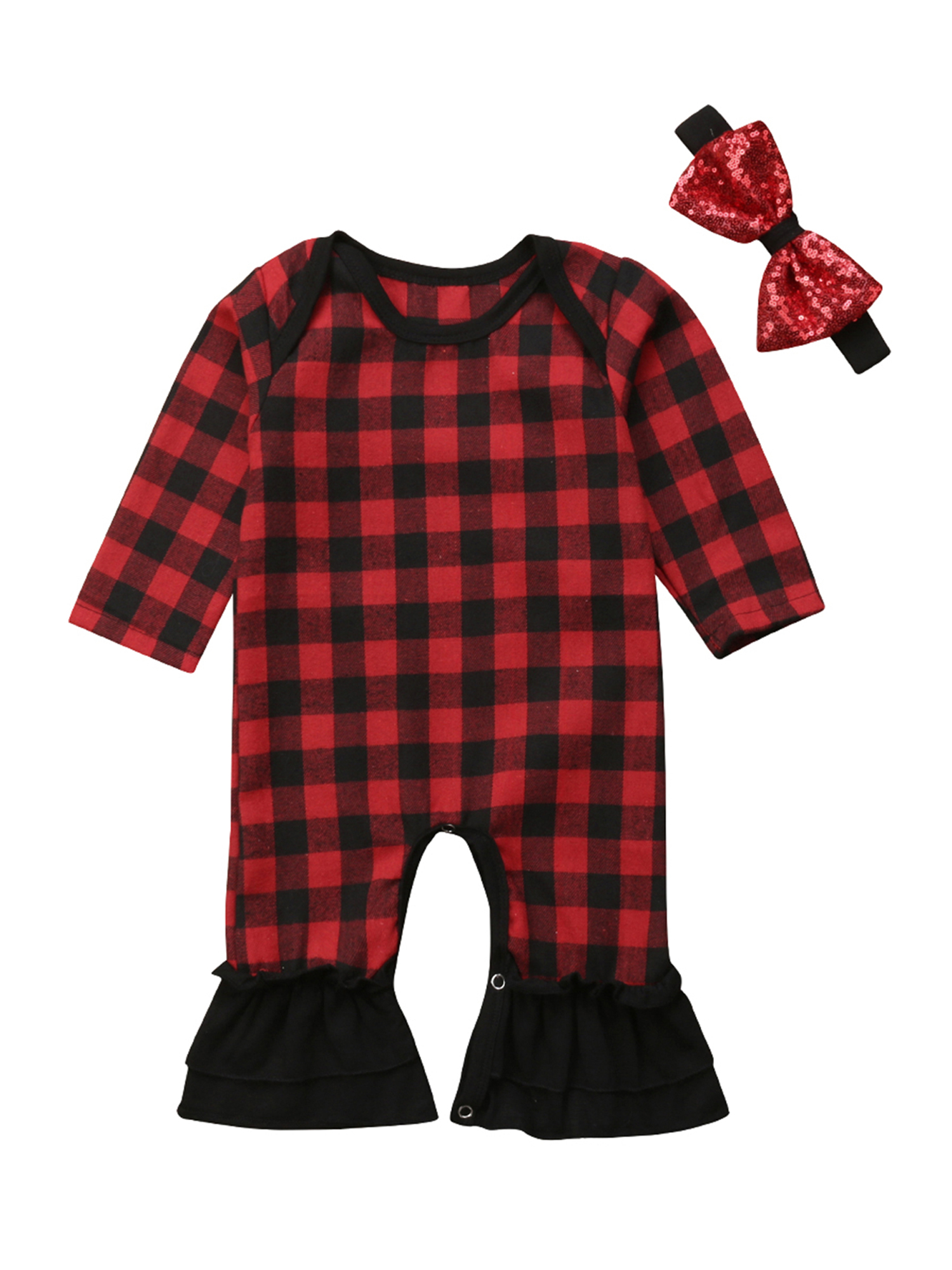 Bowanadacles Baby Christmas Clothes Girls Lace Plaids Flared Sleeve Romper Dress Outfits Cute Baby Girl Clothes 0-24M
