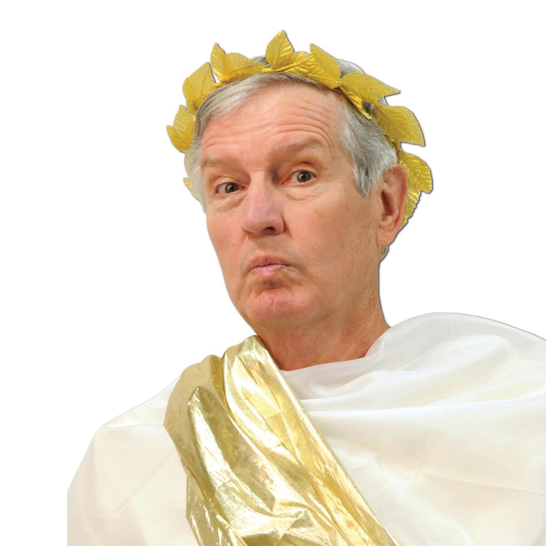 Club Pack of 12 Golden Roman Laurel Wreath Headband Party Favors