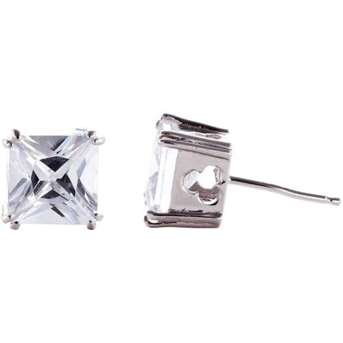 5.4 Carat T.G.W. White Cubic Zirconia Sterling Silver Stud Earrings